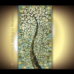 Fine Art PRINT - Modern Floral Tree Huge Abstract White Snow Fountain Cherry Blossom 48x24. $95.00, via Etsy.