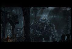 fantasy water falls | forbidden city, abstract, cave, fantasy, ruins, waterfalls