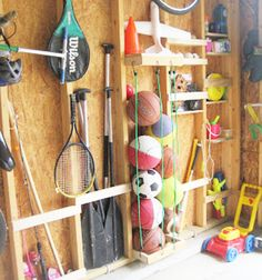 Easy Garage Storage Solutions will help you organize your home. Inspiring KonMari methods to stage and tidy your outdoor space including garage hacks Easy Garage Storage, Garage Storage Solutions, Diy Garage, Storage Hacks, Kids Storage, Storage Ideas, Garage Plans, Konmari, Ball Storage