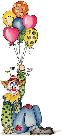 Varieté de Láminas para Decoupage: Entre payasos y circos...  ---- site has some really cute circus-themed items as clowns, performers, tent, cage, animals... CUTE!