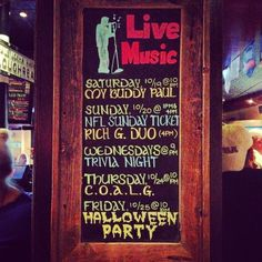 Live Music Signs for Pubs, Bars  Restaurants.   This sign is featured at Thatcher McGhee's in Pompton Lakes NJ.   It is always changing  always keeping the guests informed on whats to come for the week .   For estimates please email me at bianca.boniello@gmail.com Website: biancaboniello.wix.com/bboards  Instagram: @bybboards Twitter: @bybboards  Facebook: www.facebook.com/bybboards