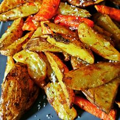 Airfried potatoes and carrots.