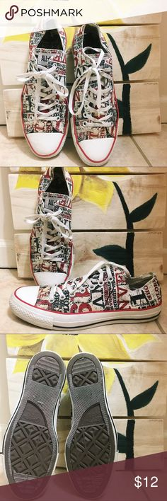 0e9f9319fb3 Newspaper styled converse shoes Trendy mens converse. In fair condition!  Slight ungluing on the. Poshmark