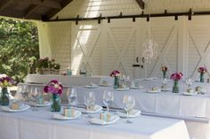 Make an outside venue with pinic tables look more formal for a shower??
