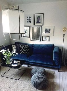 Zaragoza vintage velvet from Bemz & Nockeby Ikea couch Navy Living Rooms, Blue Living Room Decor, Interior Design Living Room, Home And Living, Living Room Furniture, Living Room Designs, Ikea Nockeby Sofa, Ikea Sofas, Ikea Couch
