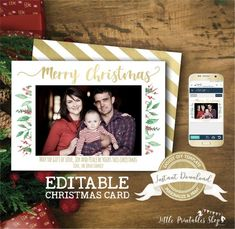 Christmas Photo Card Template, Christmas Photo Cards, Christmas Photos, Christmas Fun, Photo Birthday Invitations, Online Printing Services, Forest Friends, Birthday Photos, Printable Invitations