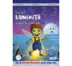 Licuriciul Luminita a venit la gradinita- Activitati matematice 3-4 ani. Auxiliarul cuprinde o gama diversificata de exercitii care ii vor initia pe pitici in invatarea cifrelor 1-3, a formelor geometrice cerc si patrat, precum si a culorilor rosu, albastru, galben. Licuriciul Luminita a venit la gradinita- Activitati matematice 3-4 ani propune exercitii avand la baza desene viu colorate pentru a le mentine atentia pe parcursul rezolvarii acestora.