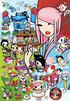 Japanese inspired Tokidoki characters! I love the kokeshi dolls and the samurai!