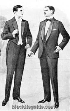 From: http://www.blacktieguide.com/History/07-Jazz_Age.htm The rules for corresponding accessories also remained the same at first. One notable exception was the renewed allowance for the white waistcoat to be worn with a dinner jacket. This popular practice of the early years, combined with a corresponding preference for peaked lapels instead of shawl collars, was seen by period authorities as an attempt to impart the formality of the full-dress outfit onto its replacement.