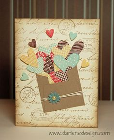 "Adorable handmade card - one Pinner says, ""This is super cute and uses up scraps! Lots of these hearts are actually stamped images that have been cut out, but you could definitely use this idea for punches."""