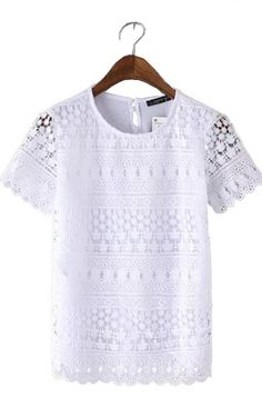 Specifications Clothing Length:Regular Sleeve Style:Regular Style:Fashion Fabric Type:Broadcloth Material:Cotton,Polyester,crochet Collar:O-Neck Sleeve Length:Short Pattern Type:crochet Size Shoulder