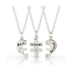 Chic Fashion Jewellery Best Friends Forever Three Part Necklace,... ($16) ❤ liked on Polyvore featuring jewelry and necklaces