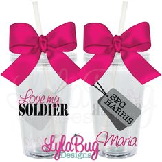 Love My Soldier Tumbler LylaBug Designs Army Wife, Acrylic Tumbler, Custom Acrylic Tumbler Personalized Acrylic Tumbler Personalized Tumblers, Personalized Tags, Brides Maid Proposal, Bachelorette Party Gifts, Dream Wedding, Wedding Hair, Wedding Stuff, Acrylic Tumblers, Army Love