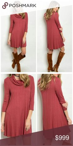 """Arriving today! Cowl Neck Dress 3/4 sleeve cowl neck slub knit loose tunic dress. In beautiful brick color. 100% polyester. Measurement for size S for reference: Length: 34"""", Bust: 32"""", Waist: 32"""". Sizes S-M-L available. Like to be notified when in! Unity Blend Dresses"""