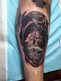 Cover art of Bazaar of Bad Dreams by Stephen King. Tattoo done by Jeremy McNish at Iron Clad in Mentor on the Lake Ohio