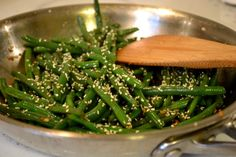 Addictive Green Beans ... SAUTÉED GREEN BEANS WITH SOY SAUCE, CHILI FLAKES, AND SESAME SEEDS.