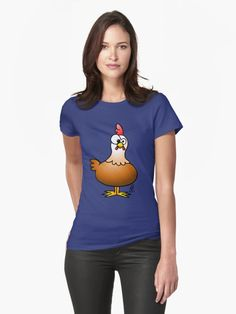 Chicken T-Shirt.    #chicken #Tshirt #gift #gifts #christmasgiftideas #giftideas #redbubble #cardvibes #tekenaartje #SOLD    Cheerful chicken on a farm. • Also buy this artwork on apparel, stickers, phone cases, and more.