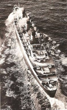 RMS Queen Mary . great aerial shot as she plows across the Atlantic Ocean
