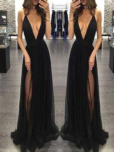 Black Prom Dresses Long, A-line Party Dresses 2018 V-neck, Tulle Backless Formal Evening Dresses Sexy,BD16549