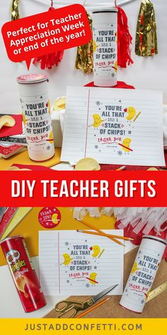 "Looking for an adorable teacher appreciation gift idea? I've got you covered with this Pringles chips teacher gift. The ""You're all that and a stack of chips"" printable label is available in my Just Add Confetti Etsy shop. This teacher gift is too cute to pass up! Perfect for teacher appreciation week or the end of the year. Such a simple 5 minute DIY teacher gift! Be sure to head to justaddconfetti.com for even more cute and creative teacher gift ideas."