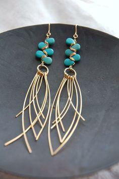 Turquoise & Metal Fringe Earrings