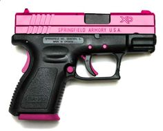 This one is nice. Usually the grip is the pink part (its a lot easier to make a pink polymer grip than it is to anodize or powder-coat the slide). Nice. Its a Springfield (manufacturer) XD-Series gun. Not sure the caliber, but it is the sub-compact model with a 3-inch barrel.