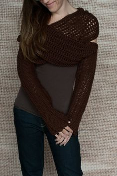 Trendy, stylish and versatile multi use sleeve wrap, scarf, cowl crochet pattern. Have fun wearing this easy to crochet sleeve wrap in various ways. Sized for women small, medium, large and x-large. Must be familiar with basic crochet stitches and techniques. Pattern is written in