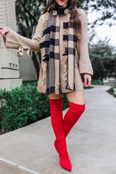Red over the knee boots and plaid Burberry scarf for Christmas