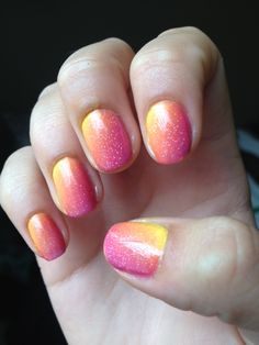 """Sparkly gradientL The yellow is CG """"Happy Go Lucky"""" The orange is NYC """"Times Square Tangerine The pink is NYC """"Fuchsia Shock"""" And the glitter is CG """"Fairy Dust"""""""