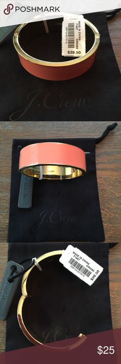 NWT J. Crew Hinged Enamel Bracelet Gorgeous cantaloupe color. New with tags and dust bag. J. Crew Jewelry Bracelets