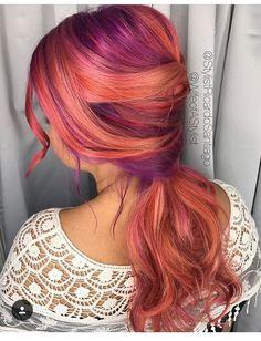 Peach and purple hair dye, so beautiful