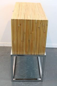 Milo Baughman Split Bamboo and Chrome Two Drawered Cabinet For Sale at 1stdibs