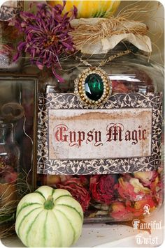 Witch's Apothecary ~ Potions and Spells Gypsy Magic dried roses/flowers; sprinkled some magenta glitter into the jar for effect. hang an antique necklace around the jar Gypsy Life, Gypsy Soul, Hippie Life, Kitsch, Drying Roses, Halloween Potions, Halloween Diy, Halloween 2019, Gypsy Living