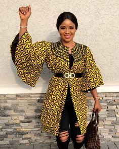 Check out beautiful collection of Stylish and latest Ankara Kimono styles the world love Ankara print, Ankara styles have been made to become an every day. As such, ladies are now seen rocking beautiful Ankara kimono jackets. African Print Dresses, African Fashion Dresses, African Dress, Fashion Outfits, Fashion Men, Fashion Ideas, Jackets Fashion, African Clothes, Ankara Fashion