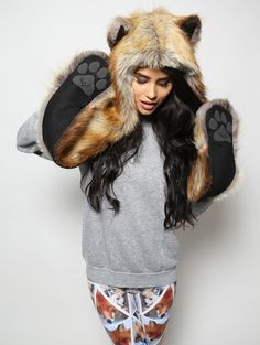 RED FOX (Faux Fur) ....................... Traits: Cunning > Wise > Adaptable ..#SpiritHoods #FauxFur