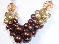 Chunky Brown and Mink Colour Faux Pearl Crystal by LillyJosephine