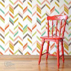 I would love to do this to my office bookshelves...Herringbone Shuffle Modern Geometric Wall Stencil | Royal Design Studio