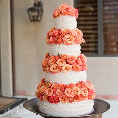 orange flowers, orange wedding cake, orange decor, Ruffled Cake With Garden Roses