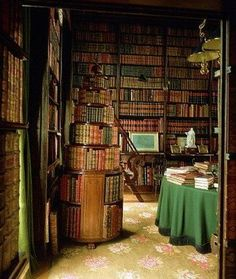 """LIBRARY at Chateau de Groussay, Chateau de Groussay, Rue de Versailles, 78490 Montfort L'amaury, France. Built 1815. http://www.chateaudegroussa... Open to the public April - Oct ... Note the 1810 Circular Moveable Bookcase. See illustration of the same from """"Ackerman's Repository of the Arts 1810 magazine"""" at:"""