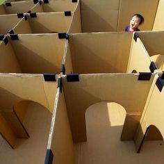 DIY cardboard box maze for kids