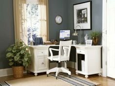 beautiful residential ideas home office walls light grey white furniture plant