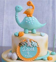 Super Birthday Cake For Boys Diy Fondant Ideas Dinasour Birthday Cake, Baby Birthday Cakes, Dinosaur Birthday Party, Birthday Ideas, Baby Cakes, Baby Shower Cakes, Die Dinos Baby, Dino Cake, Fondant Decorations