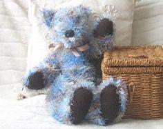Knitted teddy bear, Handknitted teddy, Knitted bear, Blue and brown teddy bear, Heirloom Bear, Latharna Bears