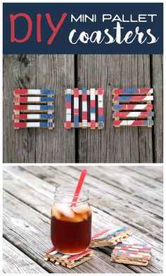 Mini Pallet Coasters DIY Tutorial with Clothespins