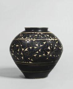 A black-glazed sgraffito jar, Jin - Xixia dynasty