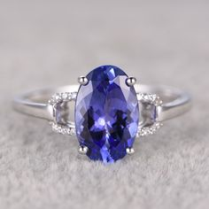 2.8ct Oval Cut Blue Tanzanite and Diamond Engagement Ring 14K White Gold Loop