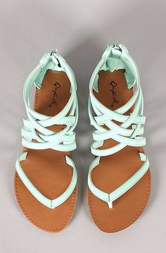 Mint Strappy Sandals for Summer These gorgeous sandals with stunning mint straps and leather colored sole look so cute. Just perfect option for summer.
