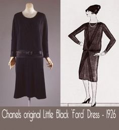 """Chanels Little Black Ford Dress-1926.  A small print ad which appeared in the Vogue issue of that October in 1926.  The exact description given by Vogue was as follows: """"Chanel's Ford Dress"""" the frock that all the world will wear of black crepe de chine. The bodice blouses slightly at the front and sides and has a tight bolero at the back. Especially chic is the arrangement of tiny tucks which cross in front. Imported by Saks.""""  That was it, no trumpets blaring, no 'Eureka' moment at all."""