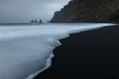 A black volcanic beach near the town of Vik in southern Iceland