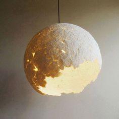 """MOON"" Lights made from Recycled Paper - 75cm diameter.Φεγγάρι Φωτιζόμενο του εικαστικού Στέλιου ΔιαμαντάΤο πρώτο βράδυ που περάσαμε μαζί με το ""Δικό μας Φεγγάρι"" μας ενέπνευσε... και ακούσαμε τα άπαντα που έχουν γραφτεί για το Φεγγάρι που χάρις σε αυτό υπάρχει ζωή στη Γη που μας Φιλοξενεί...!!! Ceiling Lights, Lighting, Pendant, Home Decor, Decoration Home, Room Decor, Hang Tags, Lights, Pendants"